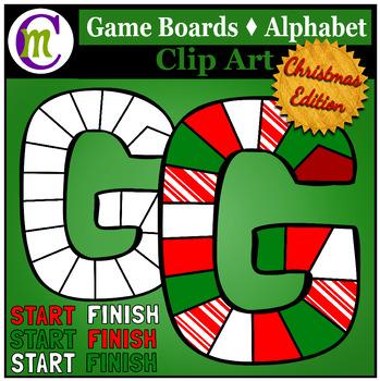 Alphabet Game Boards Clip Art Christmas Edition