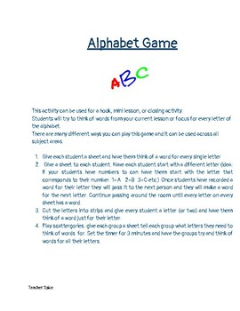 Alphabet Game Engagement Activity