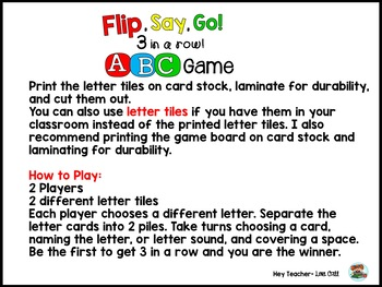 Alphabet Recognition Game: Letter ID and Letter Sounds {Flip, Say, Go!}
