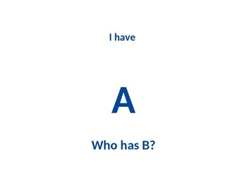 Alphabet Game - I have, Who Has?