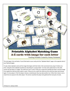 Alphabet Game -Matching letter sounds to images of items that begin with them