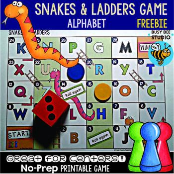 picture relating to Snakes and Ladders Printable named Alphabet Video game: Snakes and Ladders Freebie
