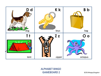 Alphabet Bingo and Memory Game - Game Cards and Game Boards