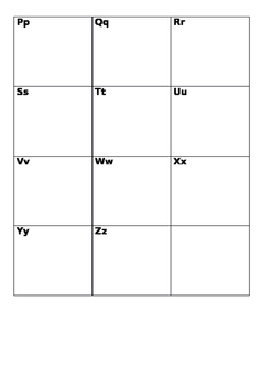 Alphabet Grid to Record New Vocabulary