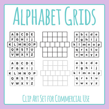 Alphabet Grids - Cut Out & Plain Clip Art for Commercial Use