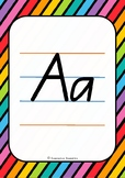 Alphabet Handwriting Posters - Queensland Beginners font (Rainbow background)