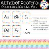 Alphabet Handwriting Posters - Queensland Cursive font (Rainbow border)