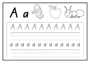 Kindergarten Alphabet Handwriting Practice Booklet - Printable - Single Sounds