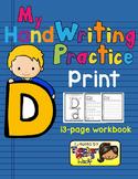 Alphabet Handwriting Practice - Letter Dd (PRINT)