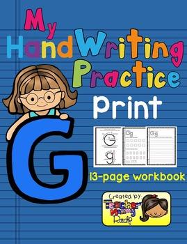 Alphabet Handwriting Practice - Letter Gg (PRINT)