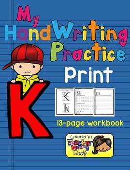 Alphabet Handwriting Practice - Letter Kk (PRINT)