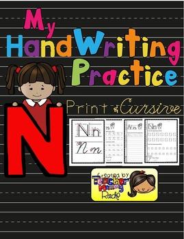 Alphabet Handwriting Practice - Letter Nn