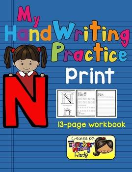 Alphabet Handwriting Practice - Letter Nn (PRINT)