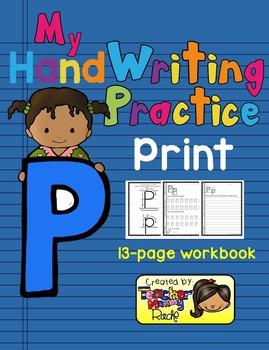 Alphabet Handwriting Practice - Letter Pp (PRINT)