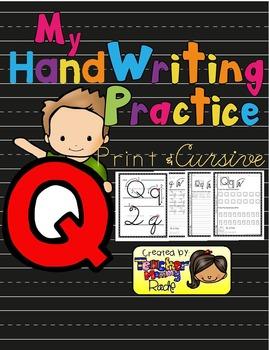Alphabet Handwriting Practice - Letter Qq