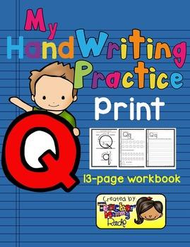 Alphabet Handwriting Practice - Letter Qq (PRINT)