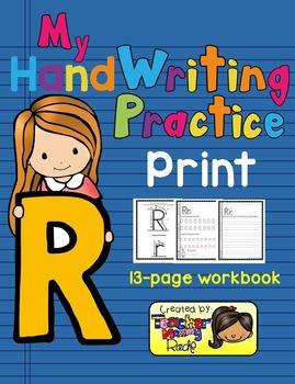 Alphabet Handwriting Practice - Letter Rr (PRINT)
