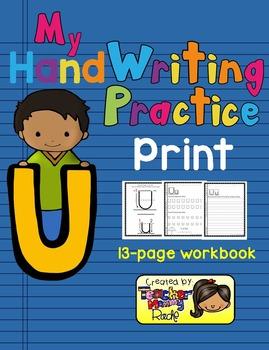 Alphabet Handwriting Practice - Letter Uu (PRINT)