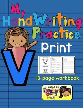 Alphabet Handwriting Practice - Letter Vv (PRINT)