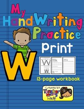 Alphabet Handwriting Practice - Letter Ww (PRINT)