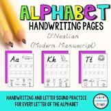 D'Nealian Modern Manuscript Alphabet ABC Handwriting Practice Pages