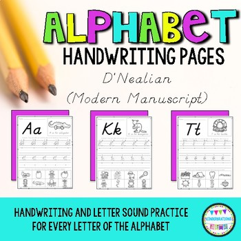 D'Nealian Modern Manuscript Alphabet ABC Handwriting Practice Pages