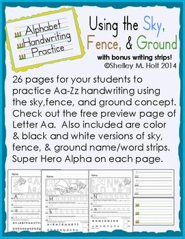 Alphabet Handwriting Letter Practice - Sky, Fence, Ground