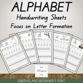 Alphabet Handwriting Sheets - Queensland Beginners Font