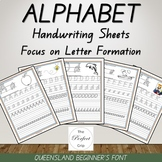 Alphabet Handwriting Sheets - Queensland Beginners Font