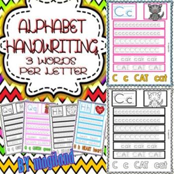 Alphabet Handwriting Worksheets (3 Words per Letter)