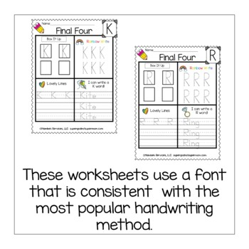 Alphabet Handwriting Worksheets- Final Four- Capital Letters