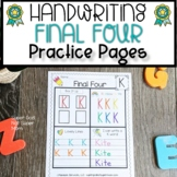 Alphabet Handwriting Practice Pages   Final Four Uppercase