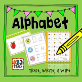 """Learn the Alphabet """"Write & Wipe"""" Tracing Cards & Worksheets (RF.K.3a)"""