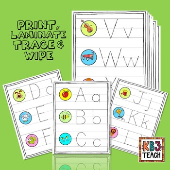 "Learn the Alphabet ""Write & Wipe"" Tracing Cards & Worksheets (RF.K.3a)"