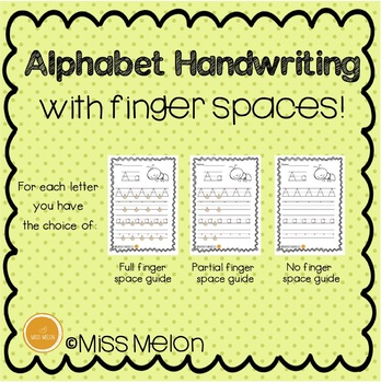 Alphabet Handwriting with Finger Spaces