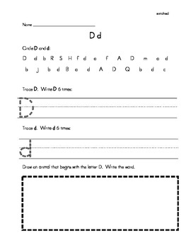 Alphabet Handwriting/Letter Recognition Practice Enriched Version