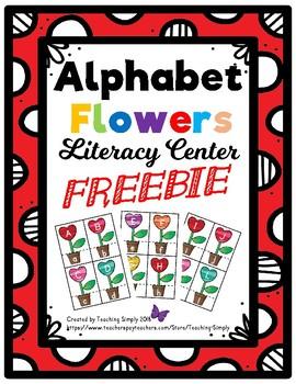FREE Alphabet Heart Flowers Matching Literacy Center