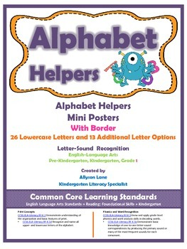 Alphabet Helpers- Mini-Posters With Border
