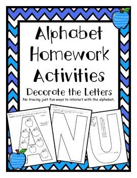 Alphabet Homework Acitivites Arts or Crafts for Each Letter