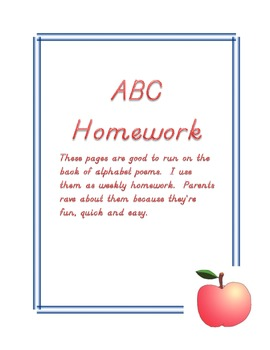 Alphabet Homework Pages