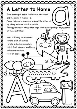 Letters to Parents Alphabet Homework for Early Learners