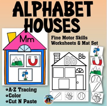 Alphabet Houses Practice Sheets