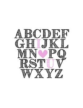 Alphabet I Heart U