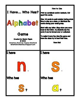 Alphabet I Have, Who Has (Capital, Lowercase, and Combined)