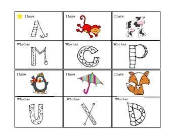 Alphabet I Have Who Has Games