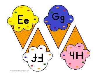 Alphabet Ice Cream Cone cards