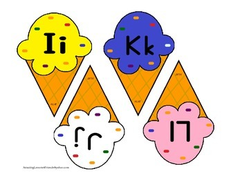 Alphabet Ice Cream Cone cards