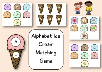 Alphabet Ice Cream Matching Game for Pre-k and Kindergarten