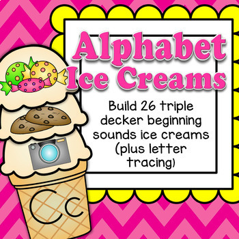 Alphabet Ice Creams Initial Sounds Match and Sort Letters Phonics