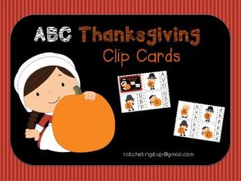 Alphabet Identification Clip Cards - Thanksgiving Version
